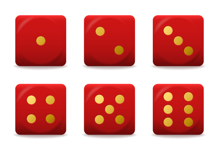 vector red playing dices with gold dots Illustration