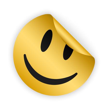 Vector goud gebogen sticker met lachend gezicht Stockfoto - 74431602