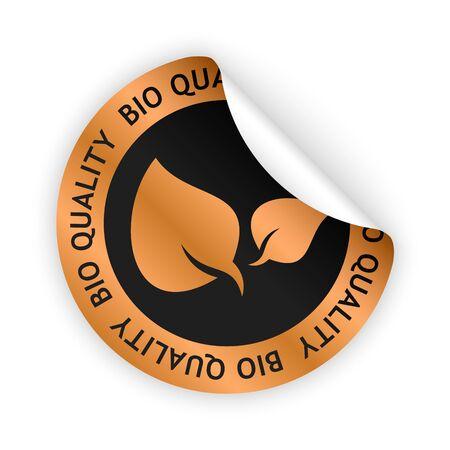 Vector bronzen gebogen sticker met symbool van biologische kwaliteit Stockfoto - 74827368