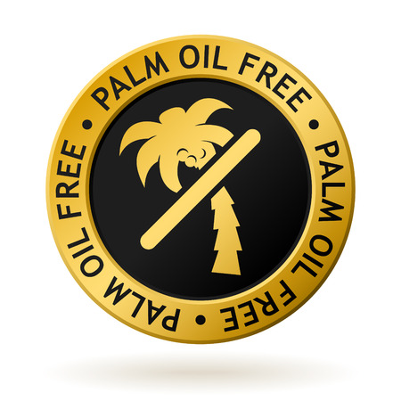 vector gold medal with symbol of palm oil free