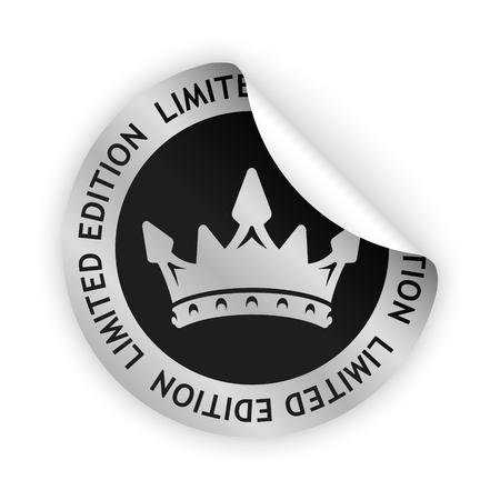 Vector zilver gebogen sticker met symbool van beperkte editie Stock Illustratie
