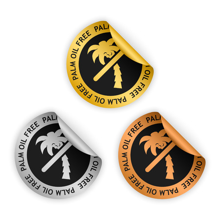 Set van vector goud zilver bronzen gebogen sticker met symbool van palmolie vrij product, palm pictogram Stockfoto - 75543063