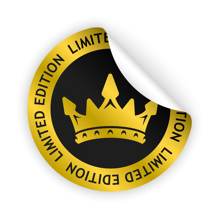 vector gold bent sticker with symbol of limited edition