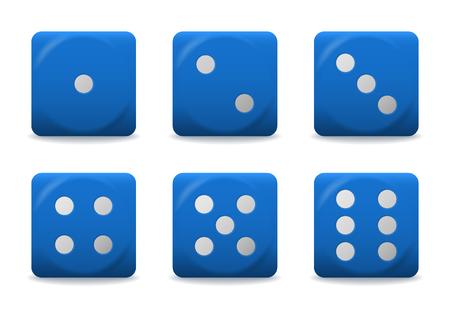 Vector azul jugando dados con puntos de plata. Ilustración de vector