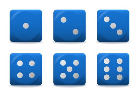 vector blue playing dices with silver dots.