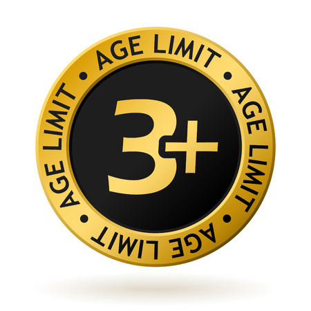 vector gold medal with symbol of age limit.