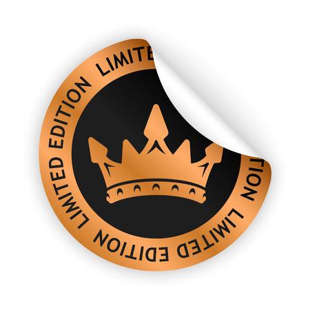 Vector bronzen gebogen sticker met symbool van beperkte editie. Stock Illustratie