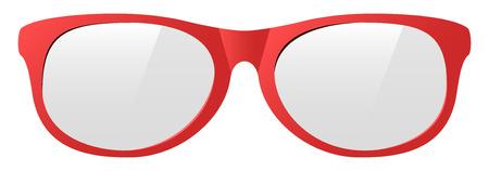 vector red eyeglasses with the light shine protect before sun shining. Ilustração