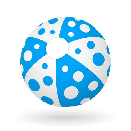Vector blauwe witte strand bal met de lichte schaduw voor het strand bal spel.