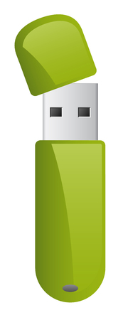 Vector green usb flash memory drive able to connecting with computer Ilustração
