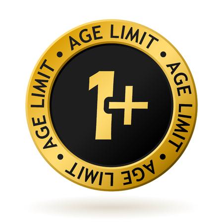 Vector gouden medaille met symbool van leeftijdsgrens