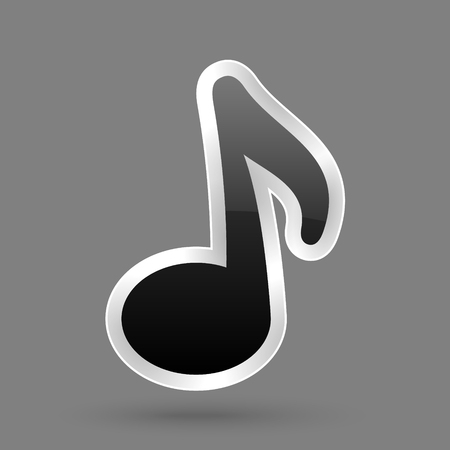 Vector black music note symbol with glossy effect