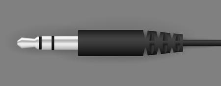 Vector zwarte audio connector die in staat is om met een mediaspeler te verbinden