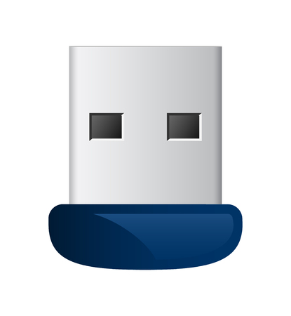 Vector blauwe usb flash geheugen drive in staat om met de computer te verbinden Stockfoto - 76637249