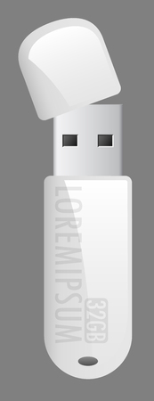 vector white usb flash memory drive able to connecting with computer Ilustração