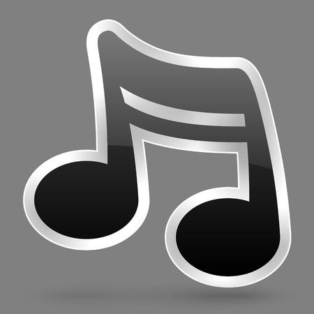 Vector zwarte muziek notitie symbool met glanzend effect Stockfoto - 94807803