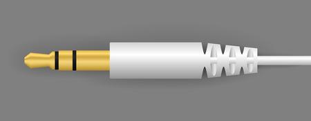 vector witte audioconnector die verbinding kan maken met mediaspeler