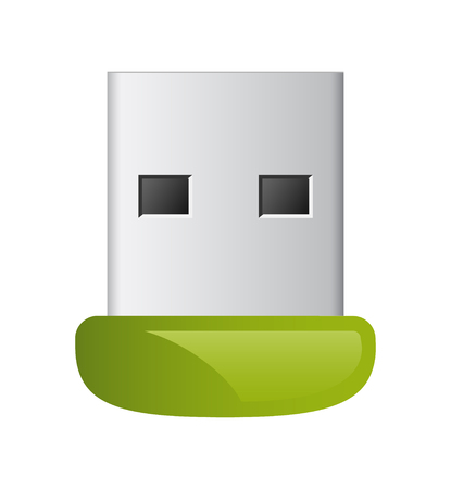 vector groene usb flash-geheugen schijf in staat om verbinding te maken met de computer