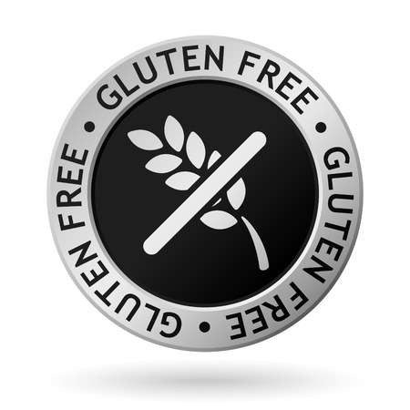 vector silver medal with symbol of gluten free