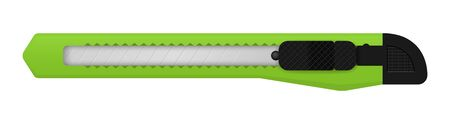 vector green snap off knife, a knife with a small, sharp, sometimes detachable blade, as used by a surgeon