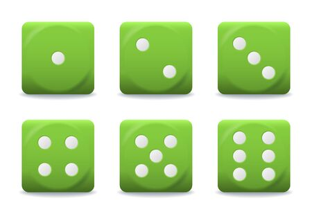 vector green playing dices with silver dots Illustration