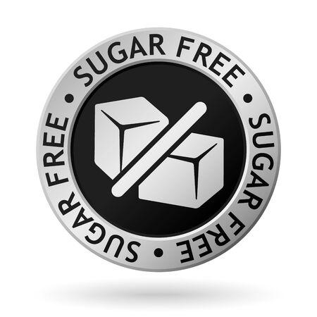 wektor srebrny medal z symbolem cukru bez cukru