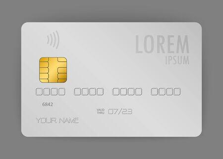 carta di credito realistica vettoriale, carta elettronica realistica utilizzata per pagare al negozio