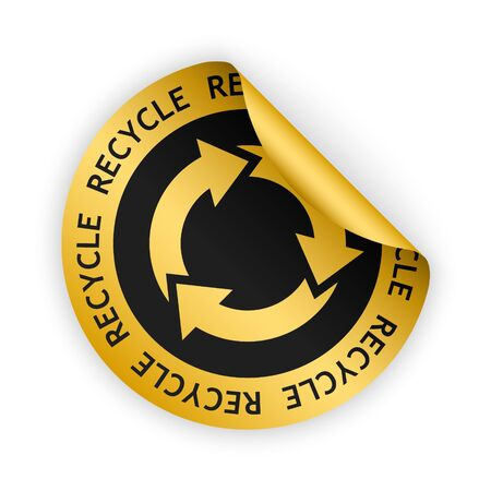 vector gold bent sticker with symbol of recycle