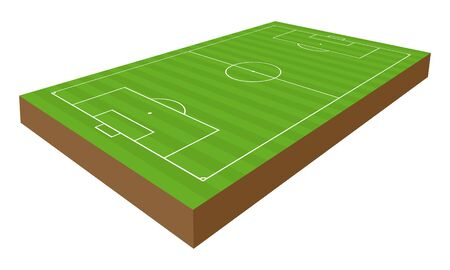 vector perspective soccer and football playground, 3d Stock Illustratie