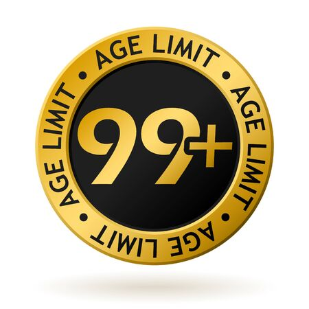 vector gold medal with symbol of age limit