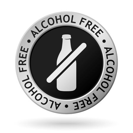 vector silver medal with symbol of alcohol free