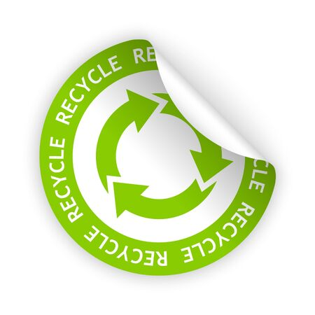 vector white green bent sticker with symbol of recycle Stock Illustratie