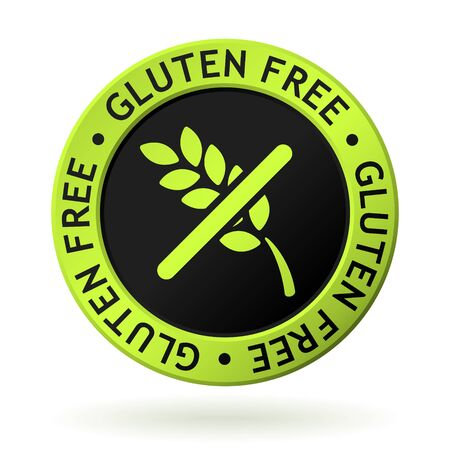 vector green medal with symbol of gluten free