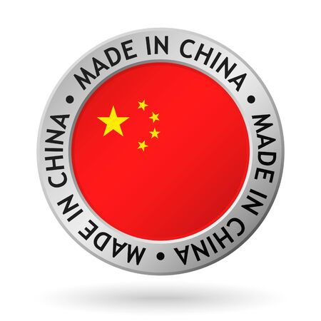 vector silver sign with flag of the china and sign made in china