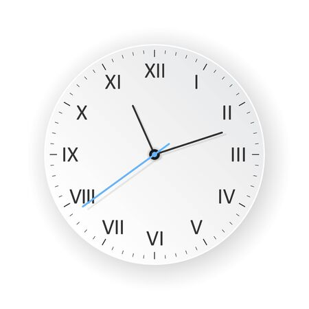 vector light clock with light shadow, show what time is it
