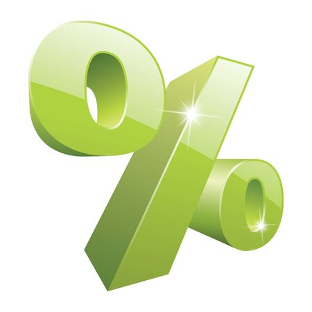 vector 3D green percent sign with nice sparkle and reflection