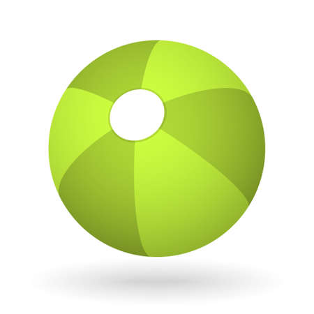 vector green beach ball with the light shadow for the beach ball game