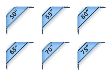 vector symbol indicating the size of display on blue ribbon