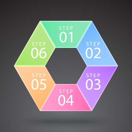 vector color infographic hexagon with many options and steps