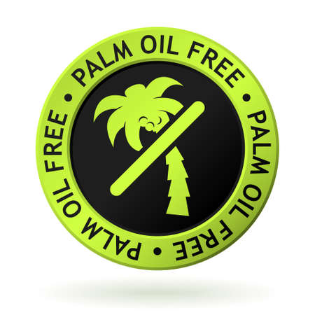 vector green medal with symbol of palm oil free