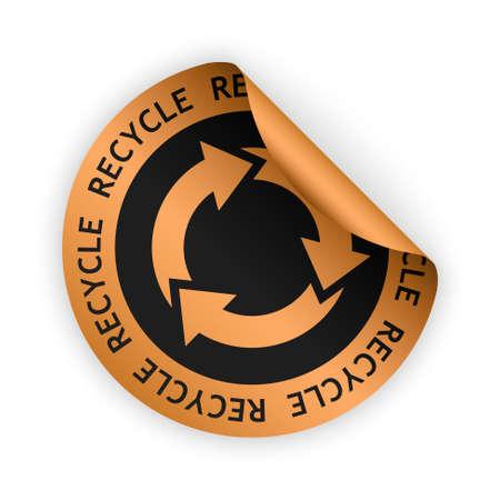 vector bronze bent sticker with symbol of recycle Stock Illustratie