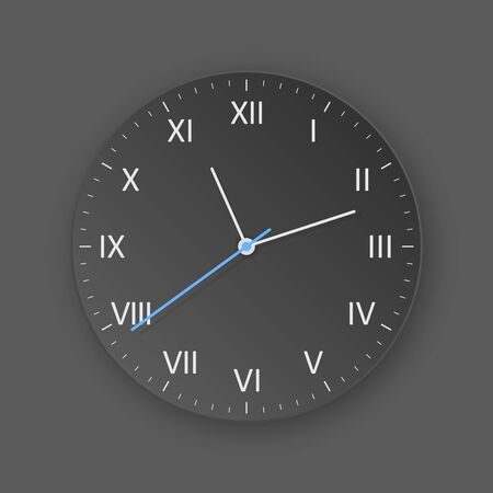 vector dark clock with light shadow, show what time is it
