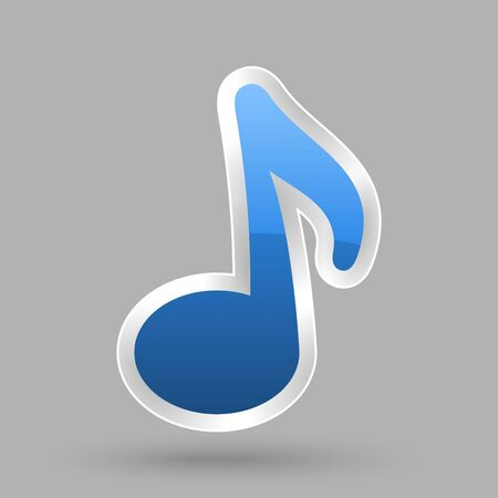 vector blue music note symbol with glossy effect