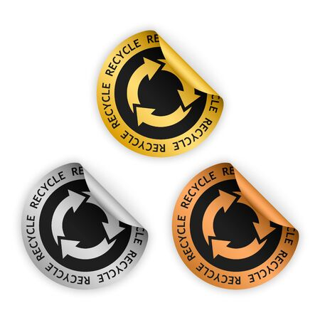 set of vector gold silver bronze bent sticker with symbol of recycle