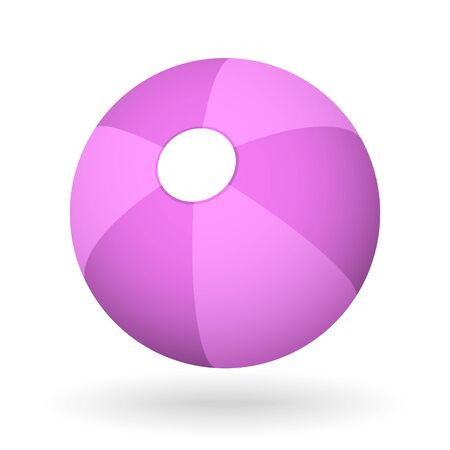 vector pink orange beach ball with the light shadow for the beach ball game
