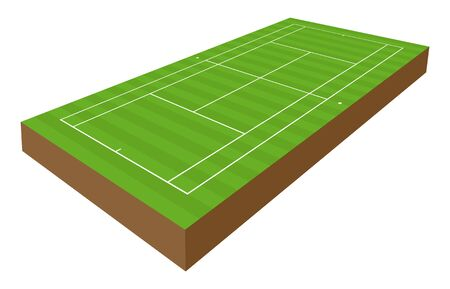 vector perspective tennis playground with 3d effect Stock Illustratie