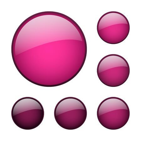set of vector pink rounded glass buttons Stock Illustratie