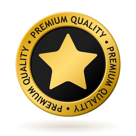 vector gold medal with symbol of premium quality