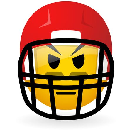 vector glass button with symbol of american football face