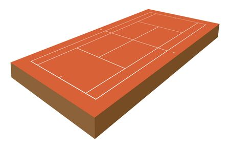 vector perspective tennis playground with 3d effect